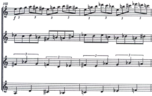 Image of several bars of Koshkin score